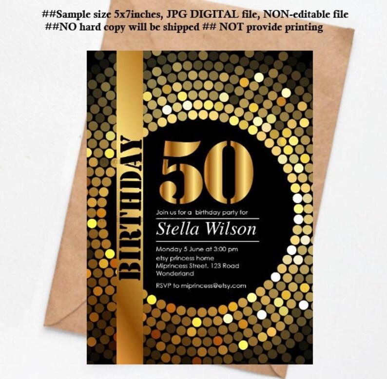 disco party invitation birthday party gold disco elegant image 0