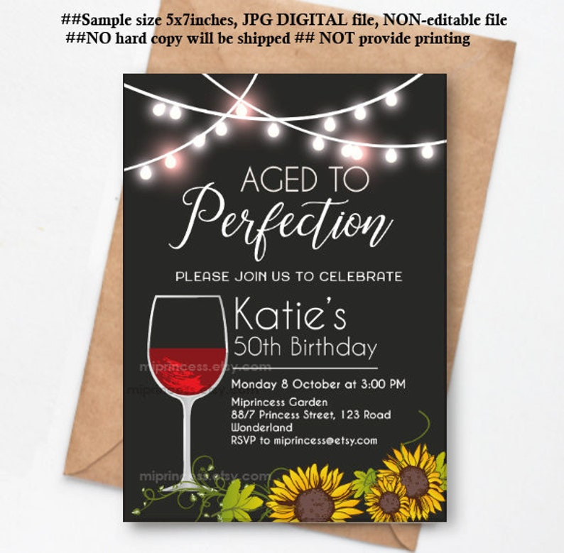 wine birthday invitation Aged to perfection floral theme red image 0