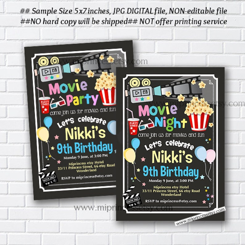photo regarding Etsy Printable Invitations identified as video celebration video night time birthday invitation, youngsters birthday sleepover pajamas bash invite for any age 5th 6th 7th 8th 9th electronic card 950