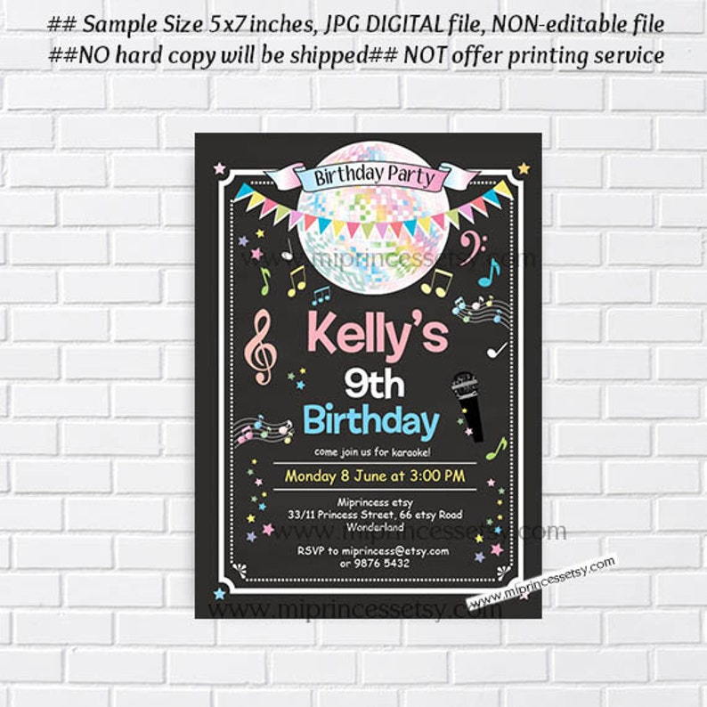 karaoke birthday invitation girl karaoke singing party disco image 0
