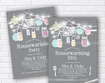 housewarming party, bbq party, rustic housewarming, floral housewarming, rustic housewarming, New house Mason Jar  BBQ party  - card 616