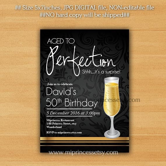 champagne wine invitation aged to perfection birthday etsy