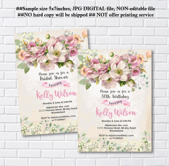 Vintage Floral Birthday Invitation Baby