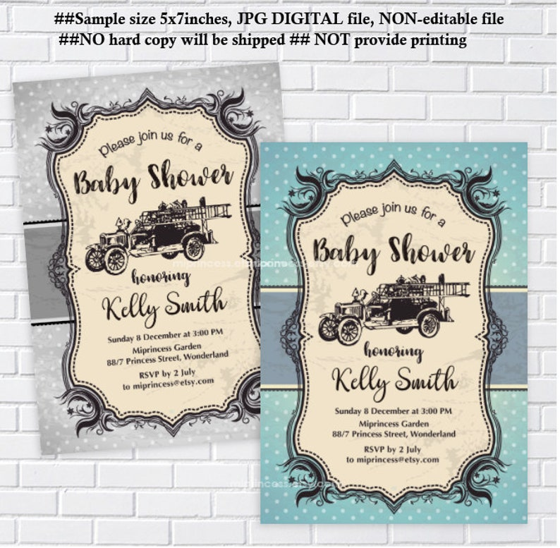 fire truck baby shower invitation fire engine baby shower fireman boy baby  shower vintage invitation digital invitation, card 294