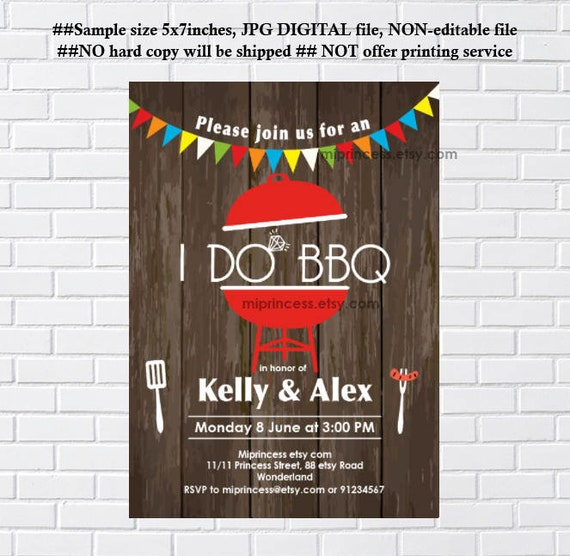 I Do BBQ Invitations Couples Shower Engagement Party