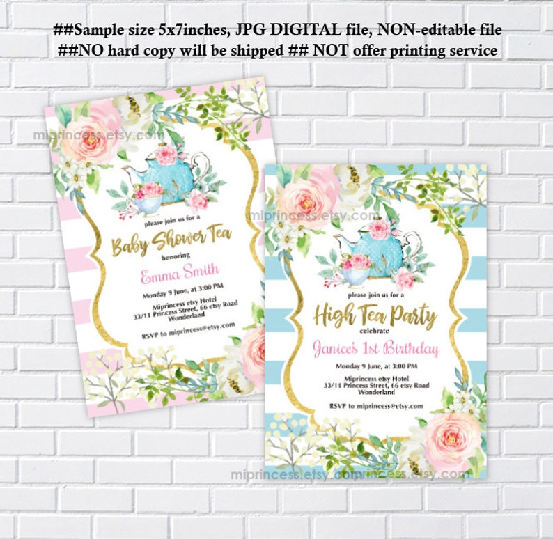 Tea Party Invitation High Birthday Bridal Shower
