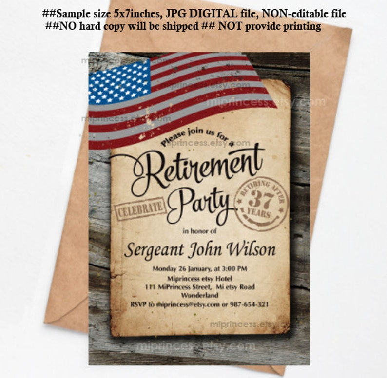 Military Retirement Army Retirement Invitations Army party image 0