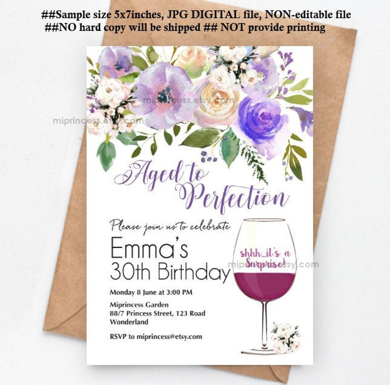 wine invitation women birthday Aged to perfection floral theme image 0