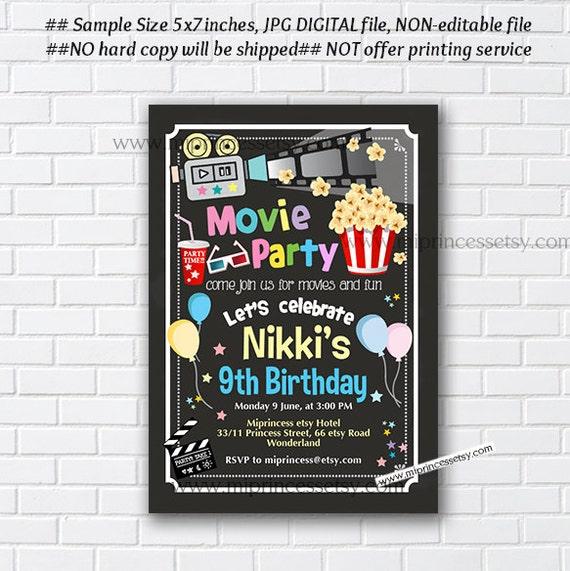 Movie Party Night Birthday Invitation Kids