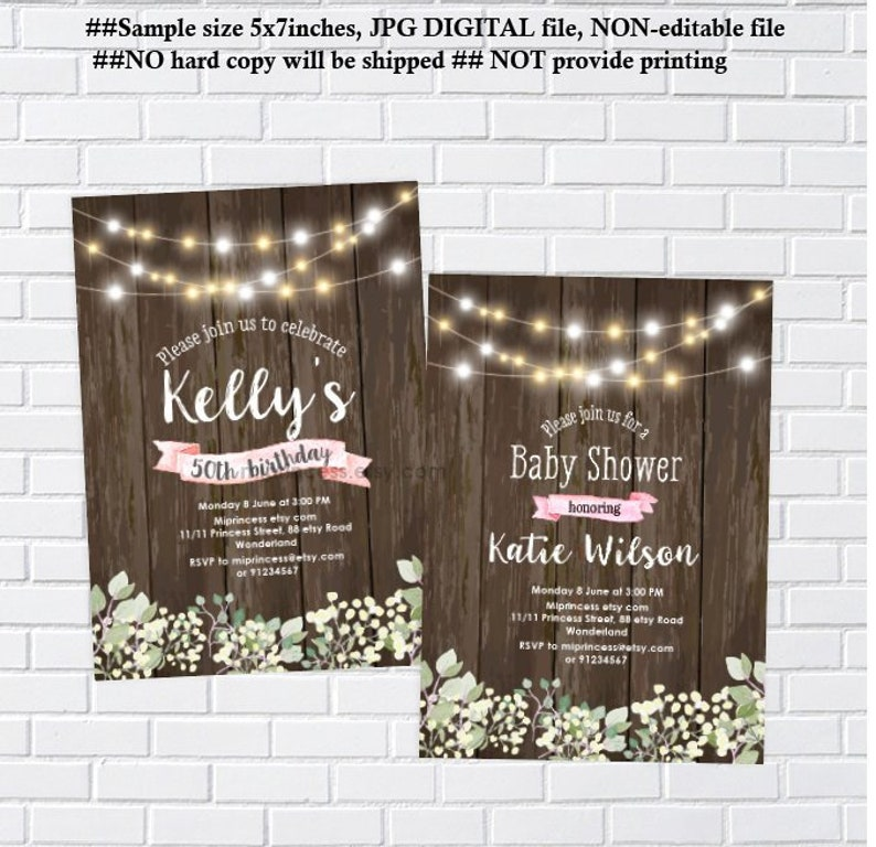 Rustic invitation woman party birthday party baby shower image 0