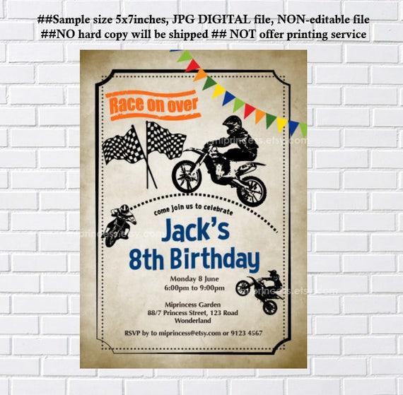 Dirt Bike Invitation Biker Boy Birthday Motorcycle