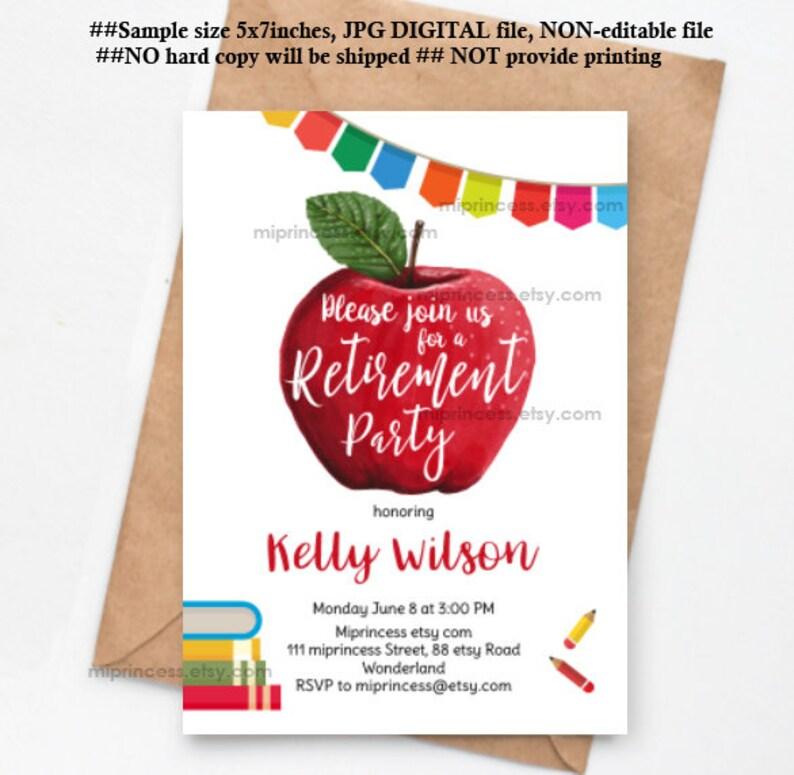 teacher retirement invitation Apple teacher appreciation image 0