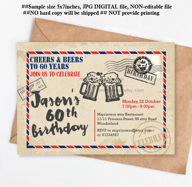 Beer Birthday Invitation Postcard Cheers And Beers Party Adult