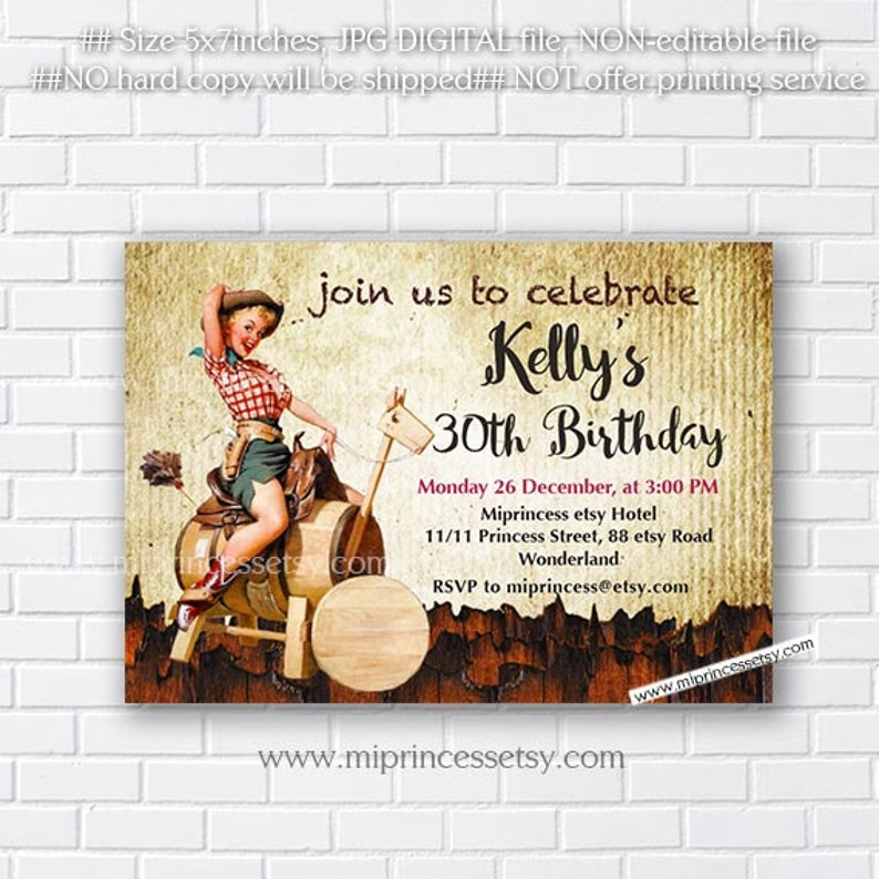 Vintage Cowgirl Birthday Invitation Pin Up Girl Cow