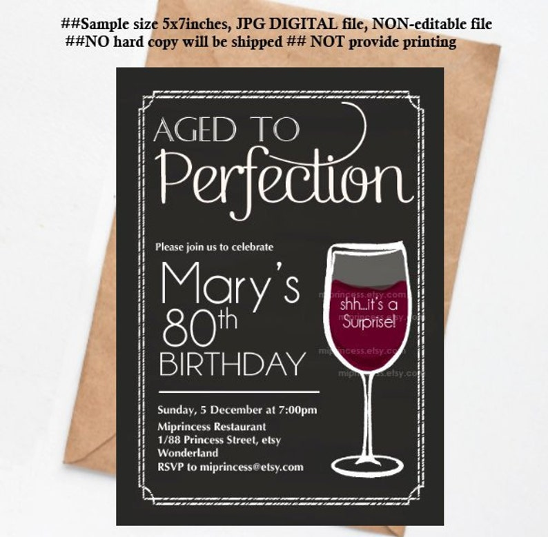 wine invitation birthday party invitation aged to perfection image 0