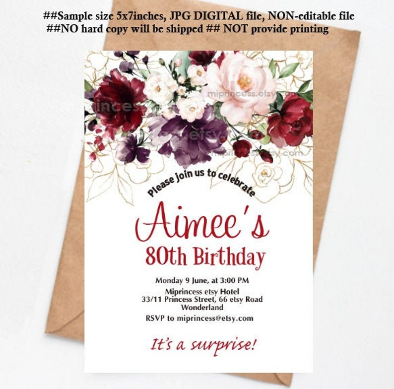 floral invitation women birthday party burgundy flowers  theme image 0