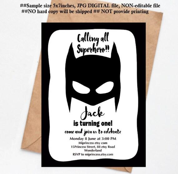 Batman Invitation Superhero Birthday Invitation Boy Birthday
