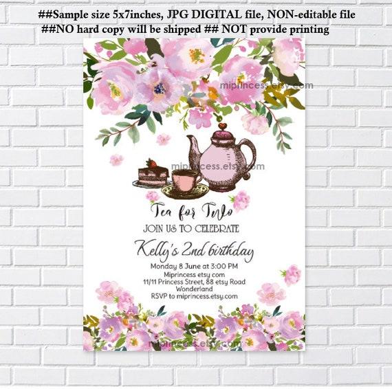 Tea Invitation Tea Baby Shower Tea For Two Birthday Tea Tea