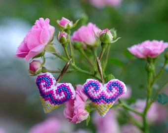Rose Dreams - embroidered Hmong heart earrings