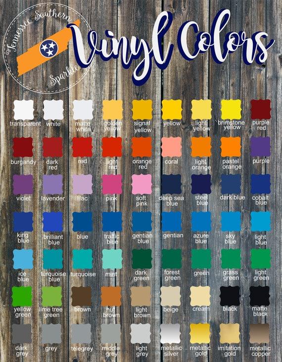 Custom Color Chart Oracal 651 Custom Shapes Color Chart Jpeg Etsy