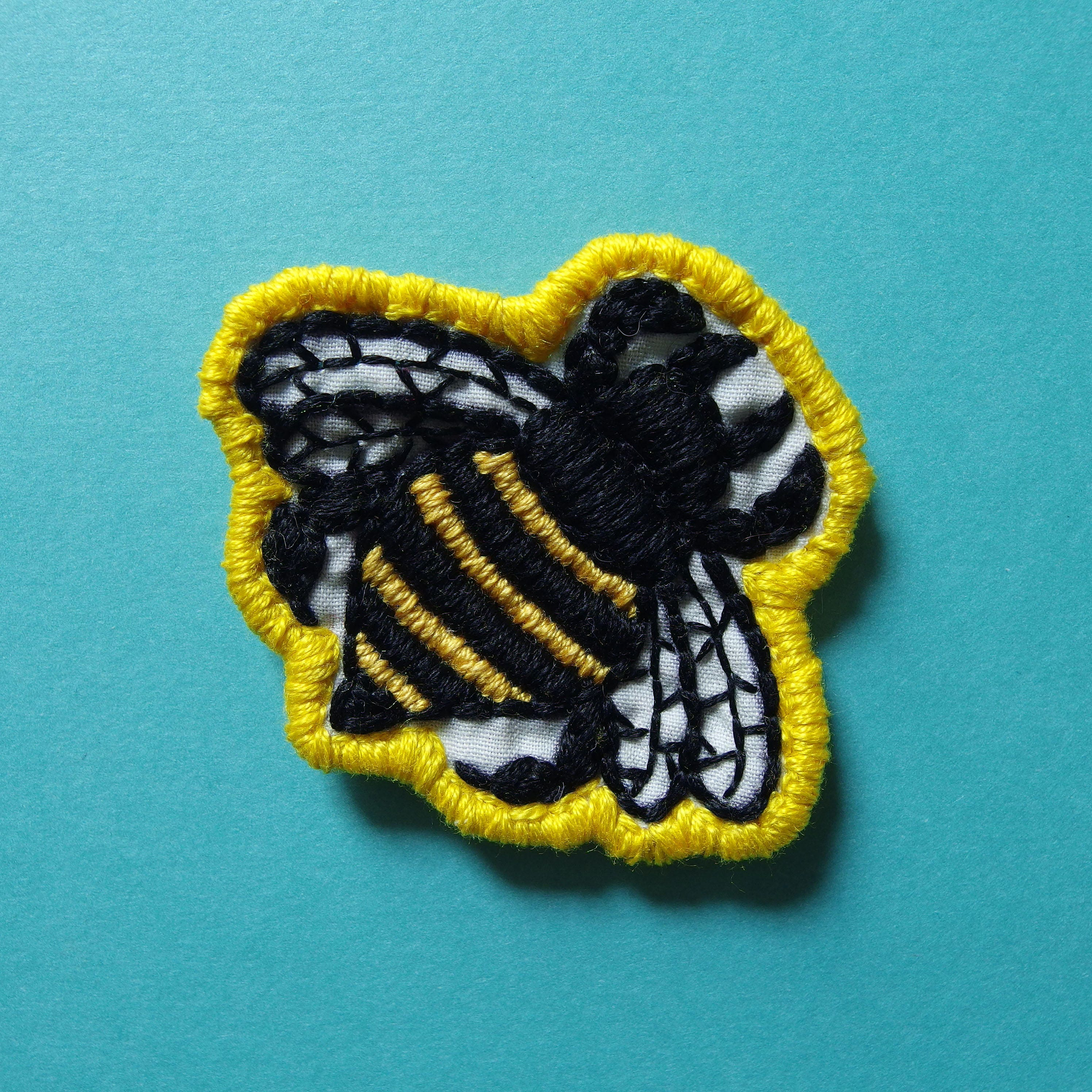 Diy Handmade Embroidered Patch: Bumblebee Handmade Embroidered 2 Patch
