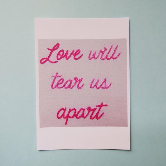 Love Will Tear Us Apart Postcard Joy Division Lyrics Quote Etsy