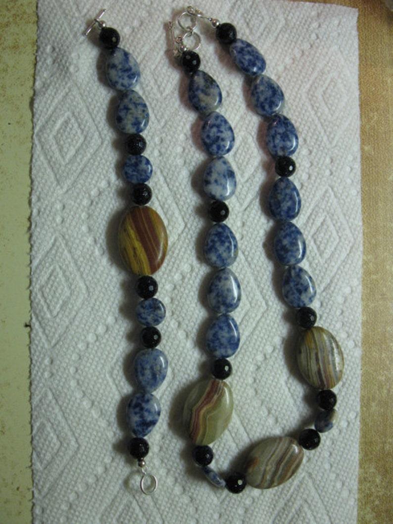 sodalite onyx goldstone sterling toggle clasp Necklace andor bracelet