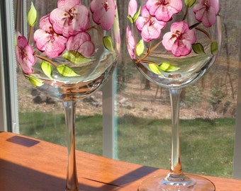 0b64b3ed265 Painted wine glasses pink cherry blossoms