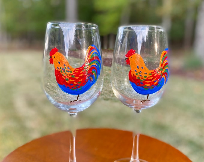country kitchen rooster decor hand painted gift farmhouse wine glass Painted wine glasses
