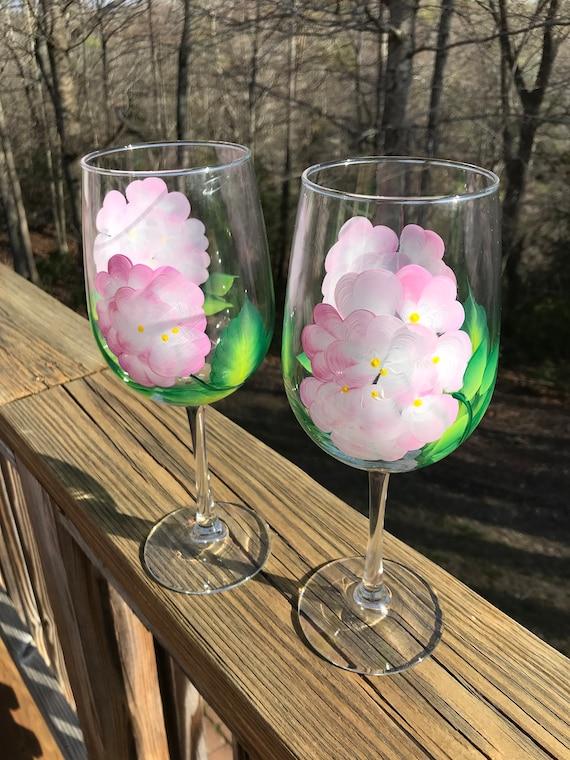Hydrangea Hand Painted Wine Glass