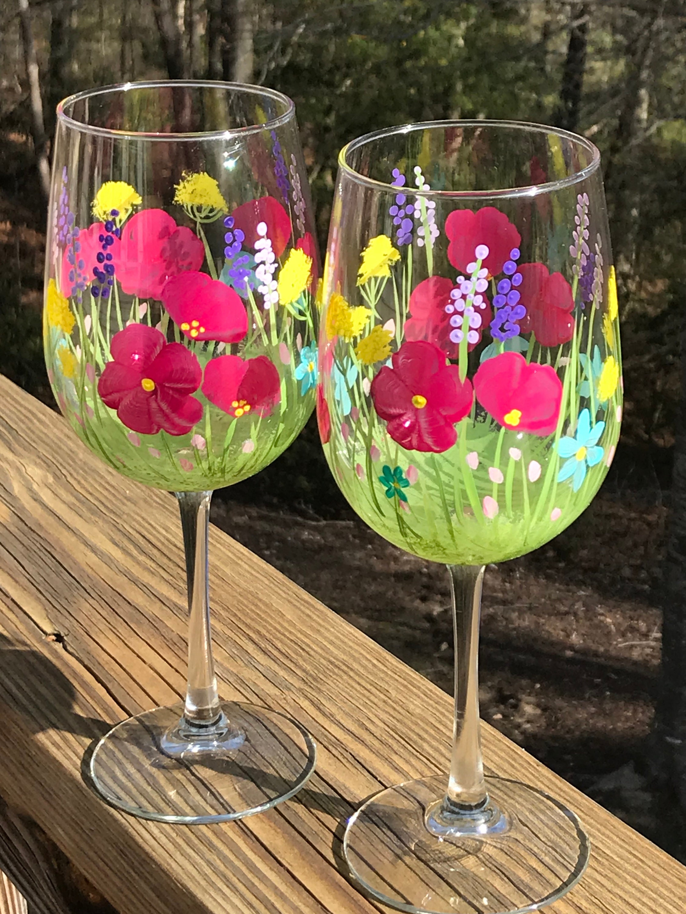 Hand Painted Wine Glasses Spring Flowers Floral Wine Glass Etsy