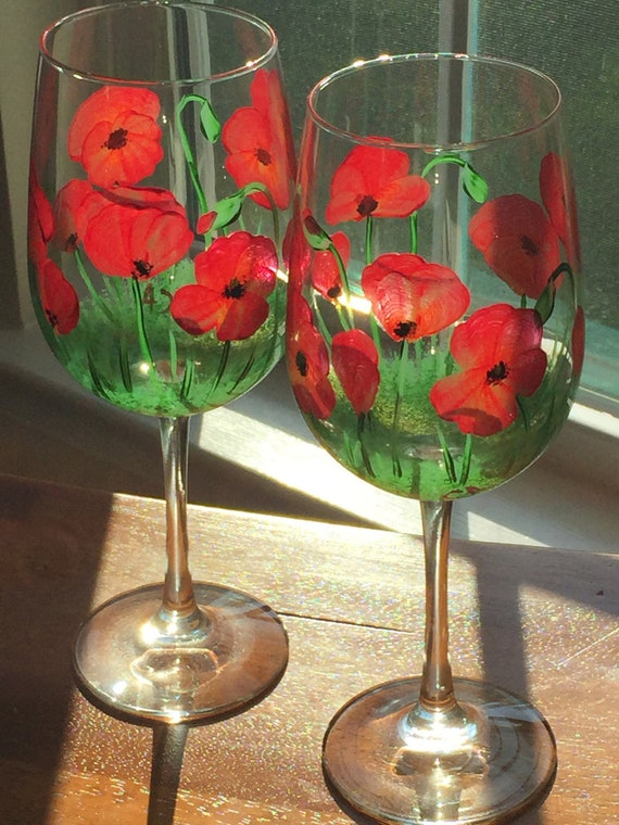 Hand Painted Wine Glasses Poppies Floral Wine Glass Red Etsy