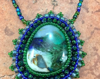 Green and Blue Glass Cabochon Bead Embroidered Necklace
