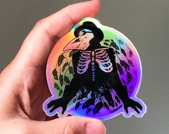Holographic Plague Doctor Sticker - diecut Vinyl skeleton grim plague rat imagery