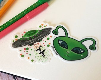Cute Alien and UFO Sticker Set - Diecut Vinyl Fun Stickers