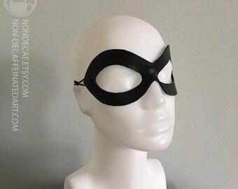 Harley Mask - handmade leather diamond domino mask - in black