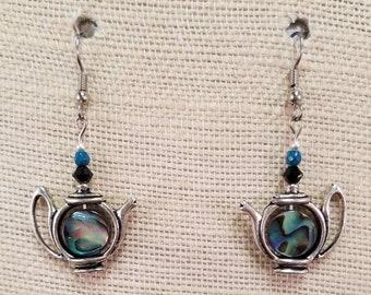 Teapot Shell Earrings - Tea Lovers Gift - Tea Jewelry