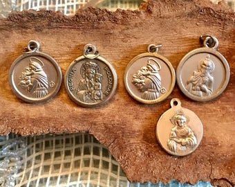 SALE 5 Vintage HOLY Medals Virgin Mary Jesus Saints Religious Catholic Jewelry SUPPLIES Curiosity Cabinet Pendant Earrings Collectable 26C