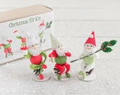 Christmas Elf Craft Kit - DIY Retro Red and Green Spun Cotton and Pine Cone Elves