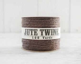 Jute Twine - 100 Yard Spool of Twine, 2-Ply Rustic Craft String, Chocolate Brown