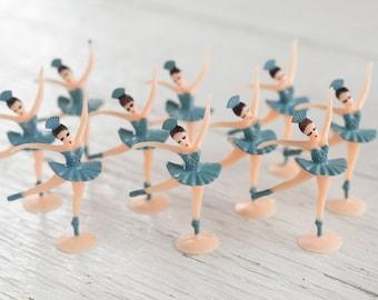 Miniature Ballerina Figures - 10 Tiny Blue Ballet Dancer Craft Figurines
