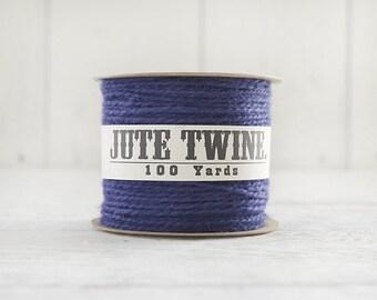 Jute Twine - 100 Yard Spool of Twine, 2-Ply Rustic Craft String, Royal Blue