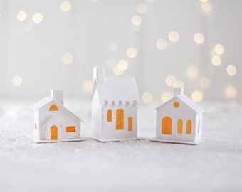 DIY Miniature Paper Houses - Set of 3 Flat-Pack White Cardstock Christmas Putz Houses