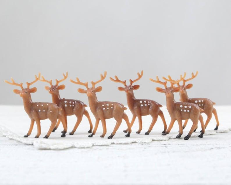 Miniature Plastic Deer  6 Tiny Woodland Deer Craft Figurines image 0