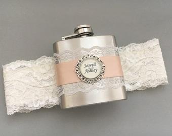 Wedding GARTER FLASK, Bridal Garter in Ivory & Blush Pink, Custom Flask Garter, Personalized Bridal Shower, Bachelorette or Bridesmaids Gift
