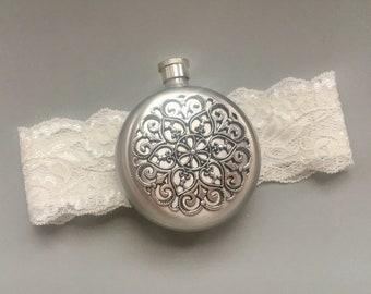Round Flask Garter, Lace Garter with Round Flask, Ivory Bridal Garter, Wedding Garter, Lace Bridal Garter, Bridesmaid Gift, Shower Gift