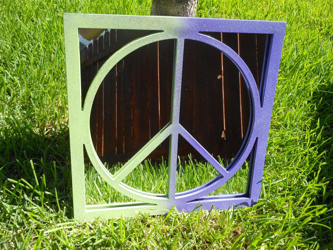 PEACE Sign Mirror Painted Purple and Lime Green Special Order or any color combination you would like last one