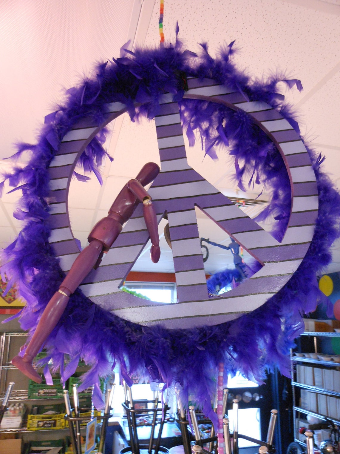 Jez4U Peace Signs BIG and One of a KIND Handpainted Whimsy 18 inch PEACE Signs finished off with a feathered boa