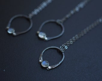 Silver Gemstone Ring Necklace