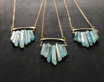 Aqua Multicrystal Necklace